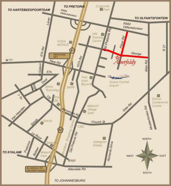 Map & Directions | Aberfeldy Bed & Breakfast Glen Austin AH Midrand ...